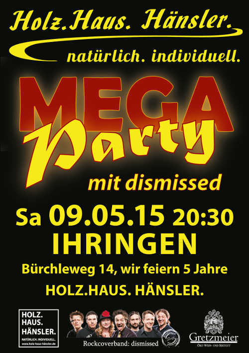 Plakat Mega Party am 8. Mai 2015